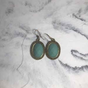 Turquoise with gold rim dangle earrings